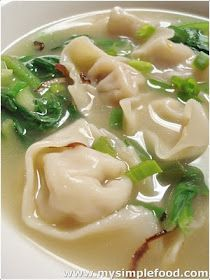 Awesome Wonton Soup-1 Packet of Dumpling Wrappers (Square shaped) Filling - 1 pound of minced pork 1 big onion - diced small 1 sprig of scallion - diced small 1 egg Salt, Pepper, Oyster Sauce, Soy Sauce to taste