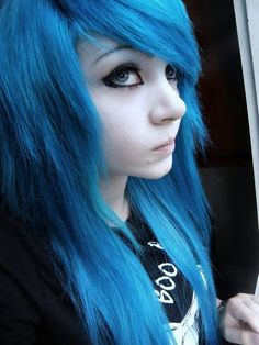 with blue Big hair girl emo tit