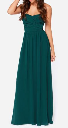 Royal Engagement Strapless Dark hunter Green Maxi Dress for bridesmaids