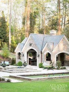 Pool House Stone Exterior and Slate Roof. Pool House Mallory Mathison Inc. Atlanta Homes & Lifestyles. Outdoor Rooms, Outdoor Living, Outdoor Sheds, Pool House Designs, Slate Roof, Brick Roof, Atlanta Homes, Houses In Atlanta, Luxury Interior Design
