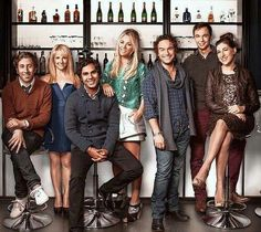 The cast from The Big Bang Theory Howard & Bernadette, Raj, Penny & Leonard, Sheldon & Amy