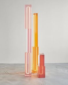 Jul 2019 - The neon lights in these cast resin Totem Lights by for allow for multifaceted light play that make for an interesting visual experience. \\\ photo by Ron Arad, Neon Lighting, Lighting Design, Lighting Ideas, Make Neon, Lampe Tube, Modern Farmhouse Lighting, Plexiglass, All Of The Lights