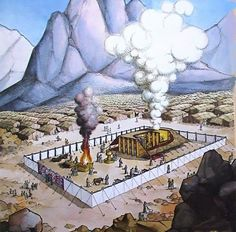 Tabernacle of Moses.  The tabernacle was first erected in the wilderness exactly one year after the Passover when the Israelites were freed from their Egyptian slavery (circa 1450 B.C.). It was a mobile tent with portable furniture that the people traveled with and set up wherever they pitched camp. The tabernacle would be in the center of the camp, and the 12 tribes of Israel would set up their tents around it according to tribe.