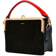 Blue and red leather multi-way box bag from Sacai featuring a detachable top handle, a foldover top with magnetic closure, a detachable and adjustable shoulder…