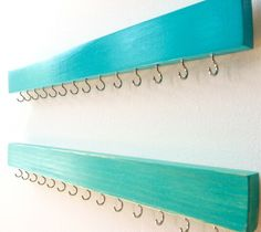 nice Wall Jewelry Organizer - Necklace Holder - Jewelry Organizer Wall - Wood Jewelry Holder - Turquoise- Wood Necklace Hanger - Necklace Storage