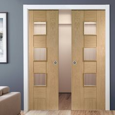 Double Pocket Messina Oak Door with Obscure Safe Glass
