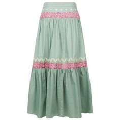 Temperley London Spellbound Skirt ($535) ❤ liked on Polyvore featuring skirts, celadon mix, midi, green midi skirt, cotton midi skirt, cotton knee length skirt, cotton summer skirts and cotton skirts