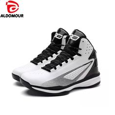 finest selection f168b c8937 ALDOMOUR Nye Air Pude Damping Mænd Basketball Sko Outdoor Sports Sneakers  High Top Basketball elskere sko