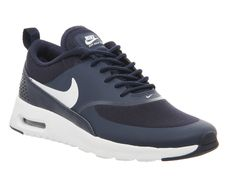 Once upon a time, pairing black and navy was considered a style no-no but, trust us, this neutral colour combo can look the epitome of chic. Nike Shoes, Sneakers Nike, Nike Footwear, Nike Air Max White, Presents For Mum, Womens Training Shoes, Air Max Thea, Black And Navy, White Nikes