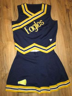 EAGLES Adult Large Cheerleader Uniform Cheer Outfit Costume 42/30 REAL #VARSITY