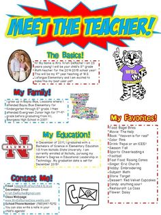 MEET THE TEACHER!! Perfect for Open House or the first days of school! Completely editable!! Superhero Themed! Red, yellow, blue themed!