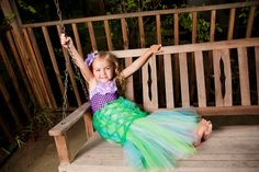 Mermaid - tulle skirt, could try wrapping green fishnet/stocking around the top to get the same effect. Note to self for future crafty Halloween costume!