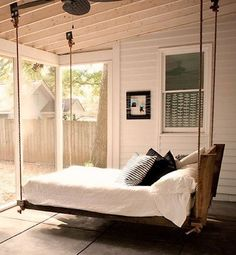 Hanging bed, with pully system to raise and lower for space