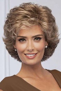 Fortune by Eva Gabor Wigs Curly Hair With Bangs, Curly Hair Cuts, Short Hair Cuts, Curly Hair Styles, Pixie Cuts, Short Brown Hair, Short Hair With Layers, Stacked Bob Hairstyles, Straight Hairstyles