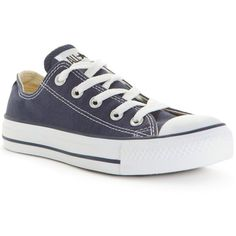 Converse Women's Chuck Taylor All Star Ox Casual Sneakers from Finish... (64 AUD) ❤ liked on Polyvore featuring shoes, sneakers, navy, navy sneakers, converse trainers, navy blue shoes, converse sneakers and star sneakers