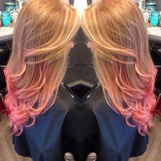 Ginger hair, pink tips, dip dye, pink hair, orange hair, red hair, redhead