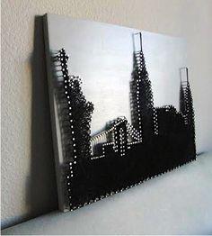 16x20 New York City Skyline String Art от HookandNail на Etsy