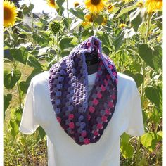 Textured Granny Cluster Cowl Scarf, Wildberry Crochet Loop, Neck... ($15) ❤ liked on Polyvore featuring accessories, scarves, cowl scarves, striped scarves, crochet scarves, loop scarves and crochet shawl