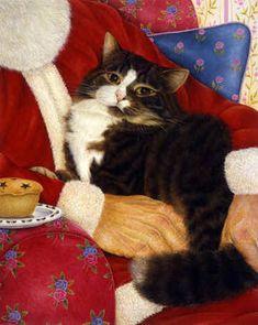 Christmas Lap Cat Art of Anne Mortimer