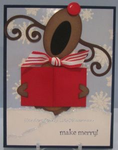 Cute singing reindeer punch card