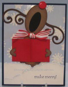 Cute singing reindeer punch card