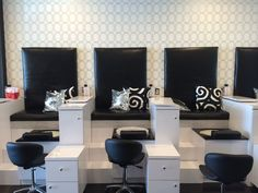 This newly opened nail bar is one of the most chic I've seen in recent memory. The black and white color scheme keeps it classy while allowing the retail displays and polish choices on the bar real…
