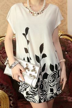 Retro Style Retro Style Scoop Collar Batwing Sleeve Floral Print Plus Size Dress For Women Formal Dresses Online, Casual Dresses, Fashion Dresses, Casual Outfits, Short Sleeve Dresses, Mini Dresses, Short Sleeves, Retro Fashion, Womens Fashion