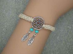 Antique Silver  Dream Catcher Bracelet , Hemp Bracelet, Feather Bracelet ,  Beads Bracelet ,Native American Jewelry on Etsy, $9.80