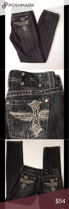 """Miss Me Distressed Skinny Jeans, Faded Black Faded black Miss Me jeans, Skinny and Distressed style. Size 28; 16"""" width, 8"""" rise, 32"""" inseam. 98% cotton, 2% elastane.  In very good used condition! Distressing throughout on pockets, hems, and legs. Lots of rivets, rhinestones, and bling. Very cute pants. Miss Me Jeans Skinny"""