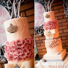 Vintage Princess Cake for Seanna & Garrett's wedding day!    Created by Divine Desserts  www.CinZoPhoto.com  www.TresFabuEvents.com