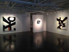 "EMANATE 2014, Myke Reilly Exhibition ""Prospeta"" ""Xrata"" and ""Tukara"" (l to r), acrylic, sand on canvas"