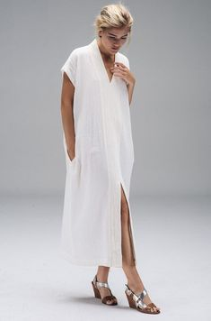 Long Smoking Dress in Ivory Linen Dresses, Casual Dresses, Casual Outfits, Fashion Dresses, Burgundy Dress, Summer Dresses For Women, Lounge Wear, Creations, How To Wear