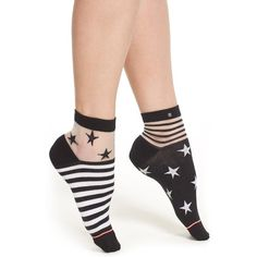 Stance 'Gothic Star' Illusion Ankle Socks ($14) ❤ liked on Polyvore featuring intimates, hosiery, socks, black, patterned ankle socks, crew socks, crew length socks, short socks and gothic socks