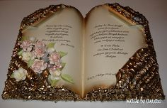 Faux golden gilded book card deco. Tutorial. Idea - can use old books. Will make nice and unique gift or table deco.