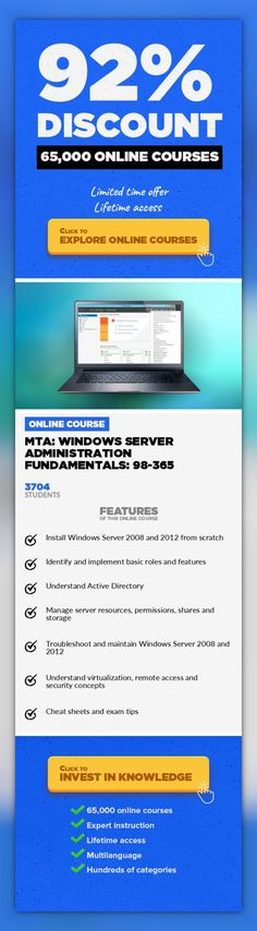 MTA: Windows Server Administration Fundamentals: 98-365 IT Certification, IT & Software  Learn how to install, configure and troubleshoot Microsoft Windows Server 2008 and 2012. Pass your MTA exam first time! Statistics on the Microsoft Certification website indicate that 91% of hiring managers consider certification as part of their hiring criteria Microsoft Technology Associate (MTA) is a recomm...