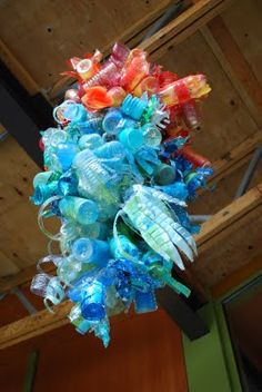 t's made from recyled plastic bottles-a lot less fragile than Mr. Chihuly's glass artwork!