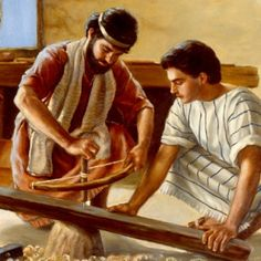 Joseph teaches Jesus to be a carpenter.but who was Joseph's Father? Who Is Joseph, Jesus Childhood, Jesus History, History Of Textile, Genealogy Of Jesus, Fathers Rights, Spiritual Pictures, Isaiah 55, Bible Pictures