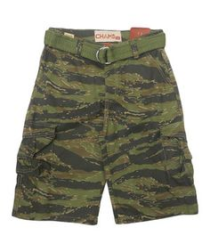Green Tiger Camo Twill Cargo Belted Shorts - Boys by GS 115 #zulily #zulilyfinds