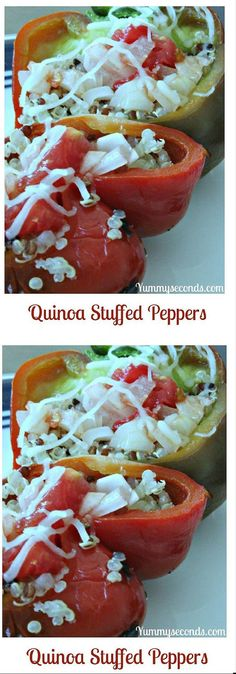 These quinoa stuffed peppers are delicious and easy to make. Whole Food Recipes, Vegetarian Recipes, Dinner Recipes, Healthy Recipes, Drink Recipes, Easy Recipes, Whole30 Recipes, Vegetable Recipes, Healthy Snacks