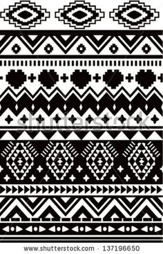 Seamless black and white ethnic vector pattern background