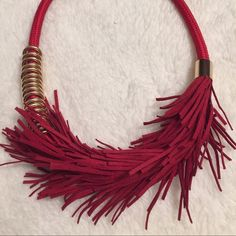 Fringe necklace Very nice red fabric fringe necklace Jewelry Necklaces