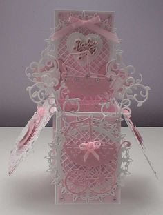 A beautiful baby girl card to fold flat to post