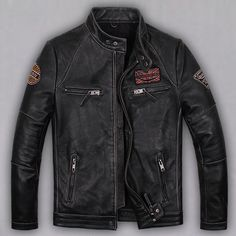 Men&39s Leather Jackets Korean Style Casual Slim Fit Biker leather