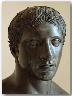 Face of the original bust of the Dorphyros from the Villa of the Papyri