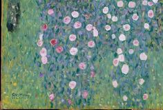 Rosiers sous les arbres by Gustav Klimt . Not a style of painting many would associate with Klimt!? The painting hangs in Musée d'Orsay.