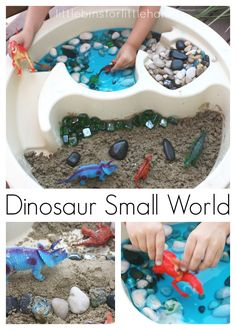Dinosaur Sensory Bin With Moon Sand. Dinosaur Small World Play for Kids. Tactile Sensory Play.