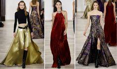 #NewYorkFashionWeek2016 Ralph Lauren - Outono/inverno Tecidos sofisticados e glamourosos, com toques de realeza. Amei o efeito ilusório da saia dourada! Funciona como uma camuflagem.