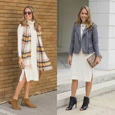 taupe CK sweater dress and CK leather moto jacket