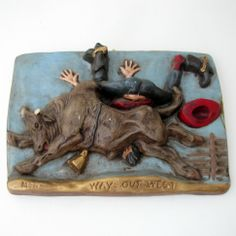 SERIES OF 4 COMICAL WESTERN WALL MOUNT: WAY OUT WEST