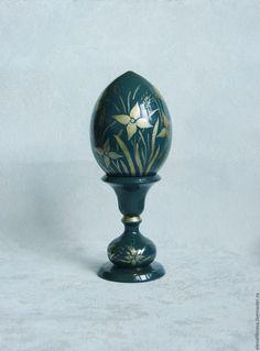 Купить Подарок на Пасху яйцо пасхальное Полевые цветы синий - яйцо пасхальное яйцо, роспись Globe, Speech Balloon